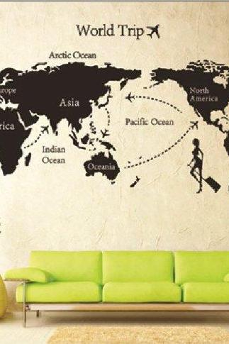 DIY World Trip Map Removable Vinyl Quote Art Wall Sticker Decal Mural Decor New