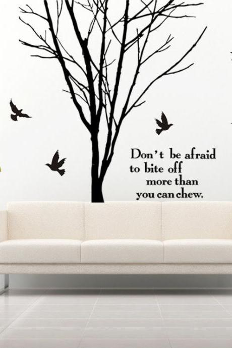 HOT SALE Vinyl Black Tree Art Words Quote Home Stickers Charms Removable Home Decal 250x100cm