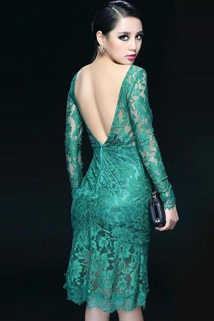 Amazing Open Back Long Sleeve Lace Dress for Party - Green