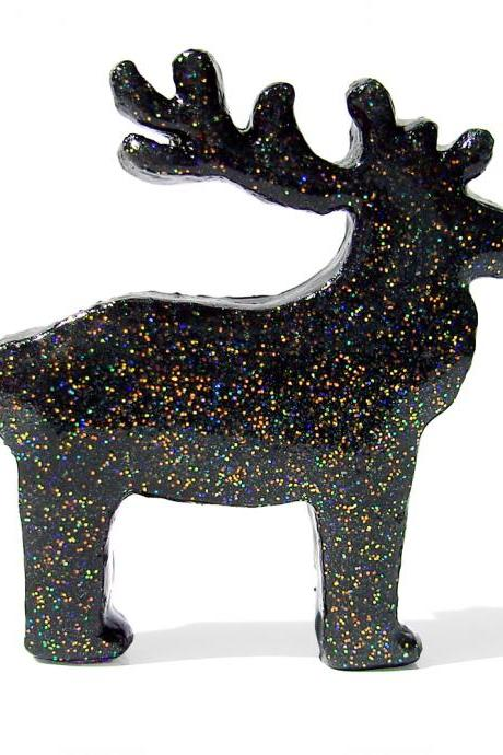 Black Reindeer Figurine with Rainbow Glitter