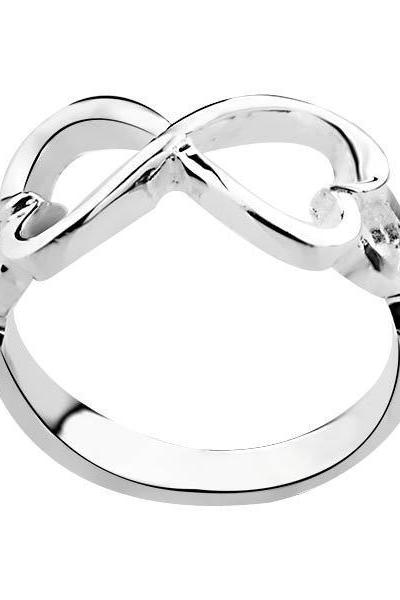925 Sterling Silver Jewelry, Hearts Bowknot, 925 Silver Rings Infinity Rings, Engagement Betrothal Rings R092