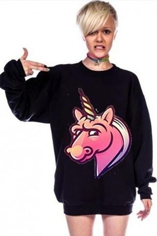Harajuku Psychedelic Unicorn Sweatshirt Jumper.Two Colors Available