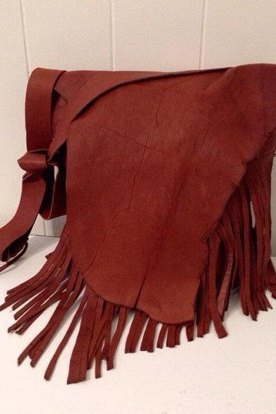 Cinnamon Fringed Leather Handbag
