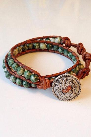 Light Green Jasper and Leather Boho Wrap