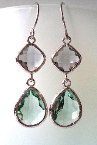 Charcoal and Erinite Crystal Earrings. Green and Grey Dangles. Grey and Aqua Chandeliers. Bridal, Bridesmaids Gifts.