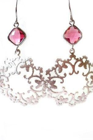 Fuchsia Crystal Earrings. Silver Filigree Earrings. Silver Dangles. Pink and Silver Chandeliers. Bridal Earrings, Bridesmaids Gift.