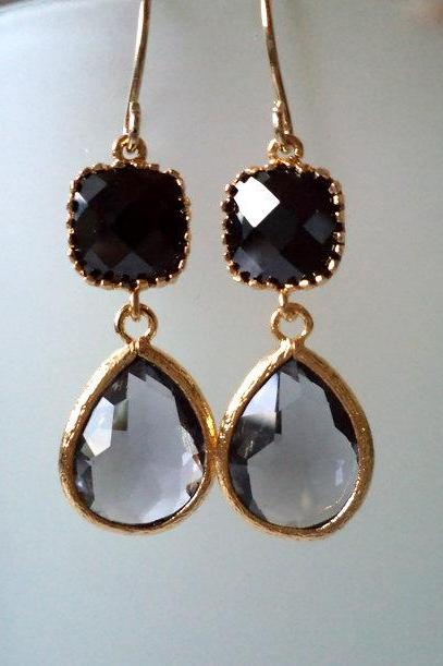 Onyx Black and Charcoal Grey Earrings. Black Dangles. Black Chandeliers. Jet Black Crystal Chandeliers. Gold. Black Stone Earrings.