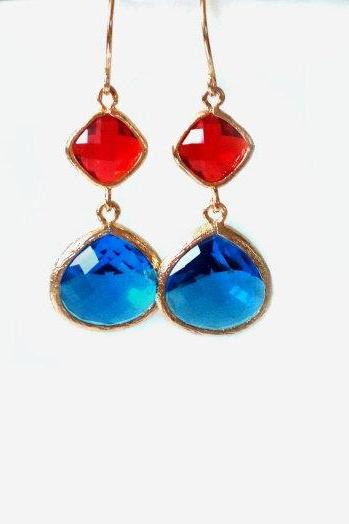 Cobalt Blue and Red Dangles. Red and Blue Earrings. Cobalt Blue and Ruby Red Chandeliers. US Flag Earrings. Bridal, bridesmaids gift.