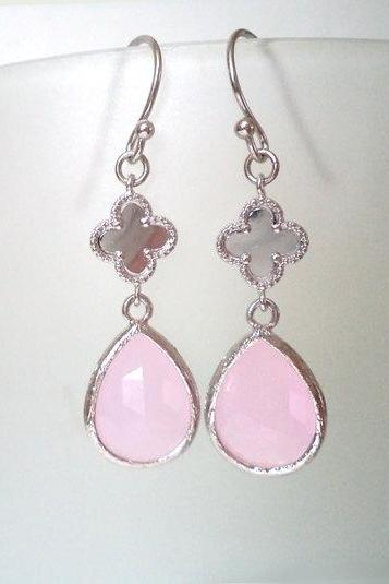 Pink Clover Chandeliers. Pink Dangles. Pink Crystal Earrings. Pale Pink Crystal Chandeliers. Ballerina Pink. Bridal, Bridesmaids