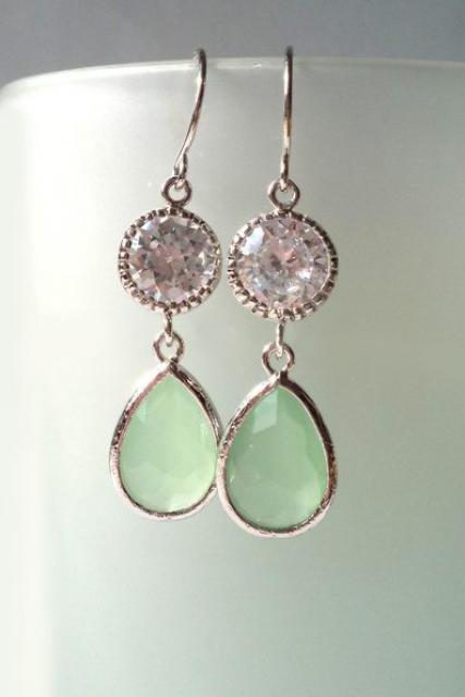 Avanturine Green Zirconia Earrings. Zirconia Dangles. Pastel Green Chandeliers. Peridot Crystal Chandeliers. Bridal, Bridesmaids Chandeliers