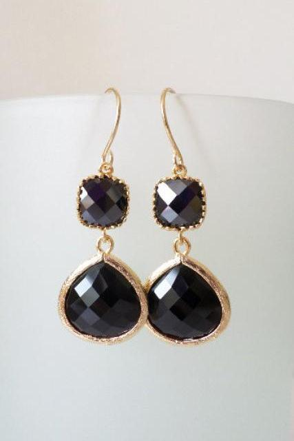 Onyx Black Earrings. Black Dangles. Black Chandeliers. Jet Black Crystal Chandeliers. Black and Gold Earrings. Black Stone Earrings.