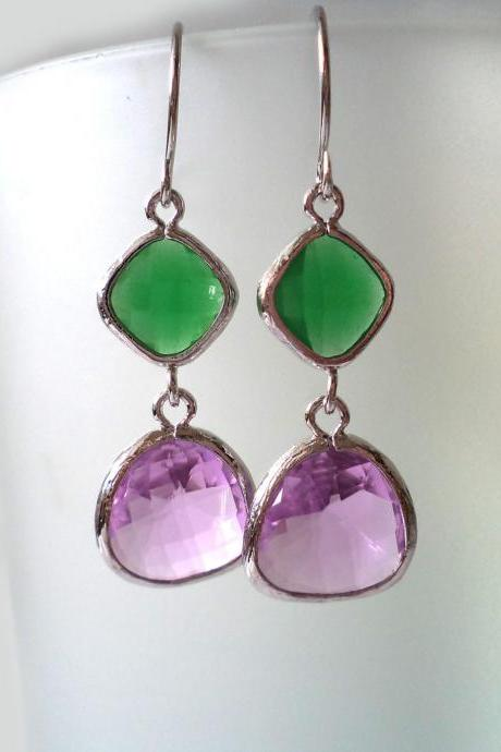 Green Onyx and Lilac Crystal Earrings. Purple and Green Dangles. Green and Lavender Chandeliers. Bridal, Bridesmaids Gifts.
