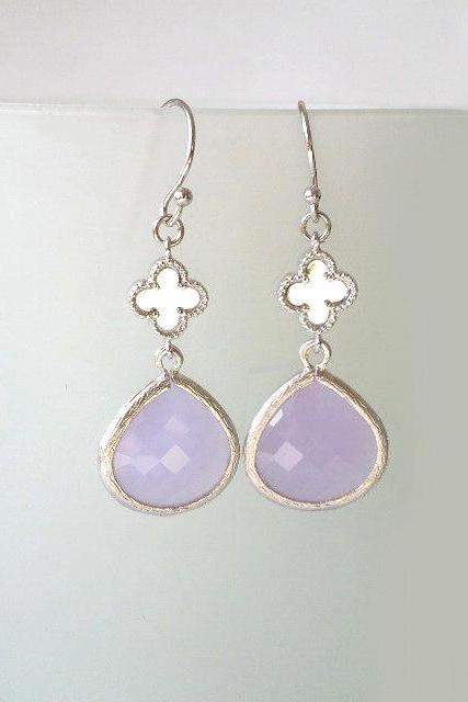 Clover Chandeliers with Lilac Crystals. Clover Dangles. Lavender Crystal Earrings. Lilac Crystal Chandeliers. Lavender. Bridal, Bridesmaids