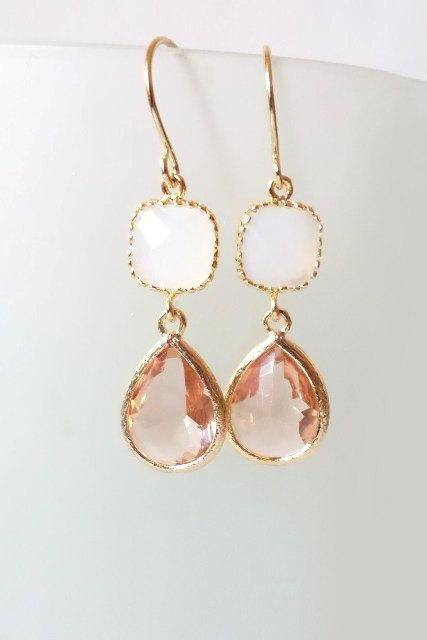 Peach and White Crystal Earrings. Peach and White Dangles. Nude and White Chandeliers. Bridal, Bridesmaids Gifts. Bridal Chandeliers.