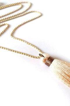 Tassel Fringe Necklace. Nude and Gold Necklace. Charm Necklace. Hippie Necklace. Boho Chic Necklace. Bohemian Necklace. Bridesmaids Gift.