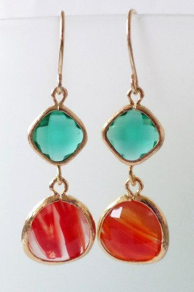 Emerald and Cayenne Orange Crystal Earrings. Orange and Emerald Dangles. Green and Orange Chandeliers. Bridal, Bridesmaids Gifts.