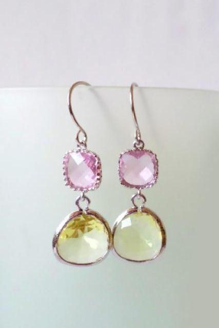 Pink and Lemon Crystal Earrings. Pink and Citrine Yellow Dangles. Transparent Chandeliers. Bridal, Bridesmaids Gifts.