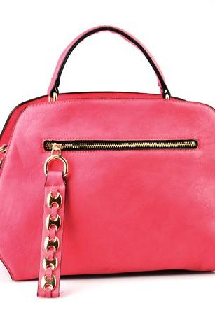 Pink Candy Leather Handbag. Pink Hobo. Pink Tote. Pink Handbag.