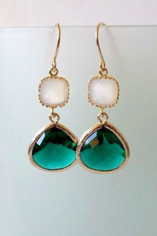 Emerald Green and White Opal Earrings. Emerald Dangles. Green Chandeliers. Emerald Crystal Chandeliers. Emerald and White Earrings.