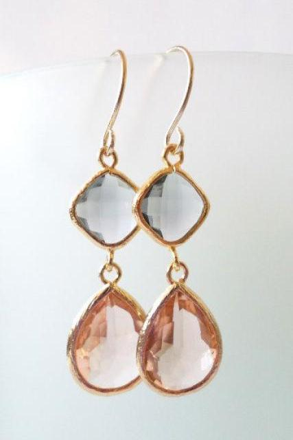 Peach and Charcoal Crystal Earrings. Peach and Charcoal Grey Dangles. Pink and Charcoal Grey Chandeliers. Bridal, Bridesmaids Gifts.
