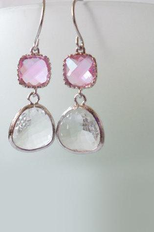 Pink and Clear Crystal Earrings. Pink and White Dangles. Pink and White Chandeliers. Bridal, Bridesmaids Gifts.