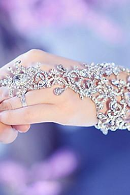elegant wedding Bridal party prom Jewelry Crystal Rhinestone bracelet with ring wristband Bracelet jb050