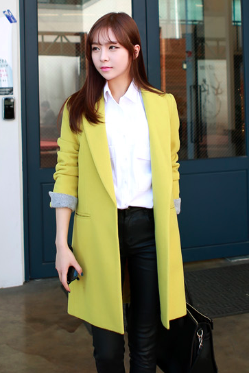 Lime Yellow Women Casual Office Chic Trendy Modern Look Long Jacket Winter Autumn Coat Outerwear