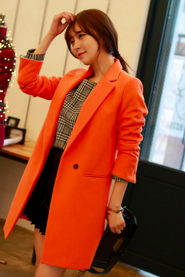 Orange Women Casual Office Chic Trendy Modern Look Long Jacket Winter Autumn Coat Outerwear 182744326 A3756