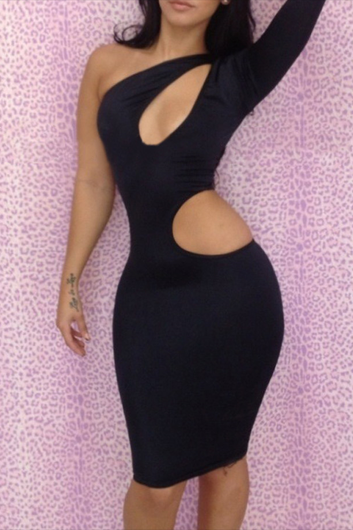 Sexy Cut Out Wait Sheath Dress with Long Sleeve - Black