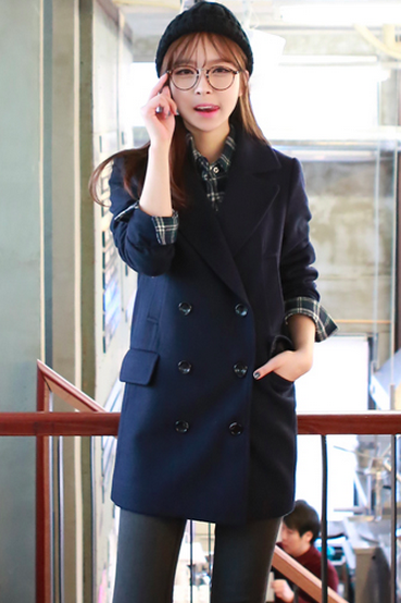 Navy Women Casual Office Chic Trendy Modern Look Long Jacket Winter Autumn Coat Outerwear 182744326 A3054