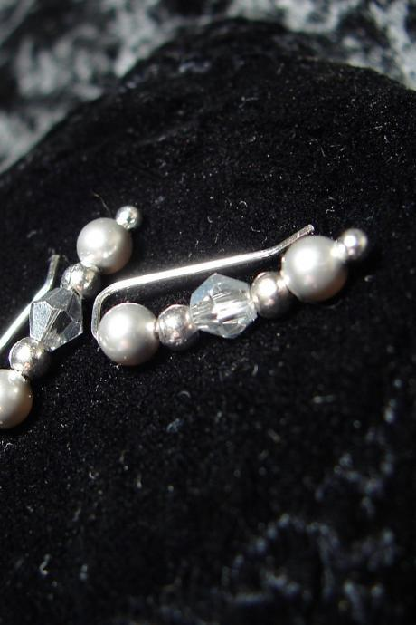 Ear Pins Sterling Silver Filled Earpins and Swarovski Silvery Gray Pearls - Pair Earrings