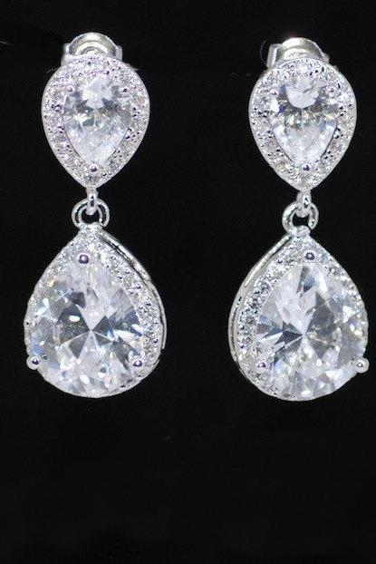 Wedding Earrings, Bridesmaid Earrings, Bridal Jewelry - Cubic Zirconia Teardrop Earring with Cubic Zirconia Teardrop (E545)