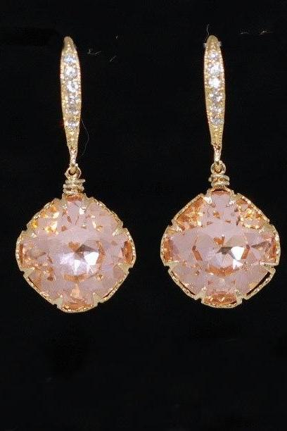 Wedding Earrings, Bridesmaid Earrings - Swarovski Square Light Peach Crystal with Gold Plated Cubic Zirconia Detailed Earring Hook (E546)
