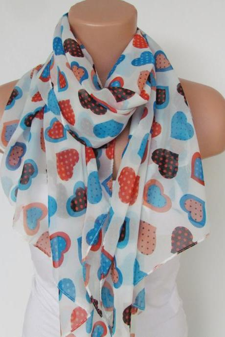 Oversize Heart Pattern White and Multicolor Scarf -Fall Fashion Scarf-Headband-Beach Pareo- Infinity Scarf- Long Scarf-New Season