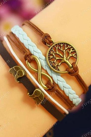 Infinity, Elephant, Tree of life charm wrap bracelet Friendship bracelet Leather bracelet
