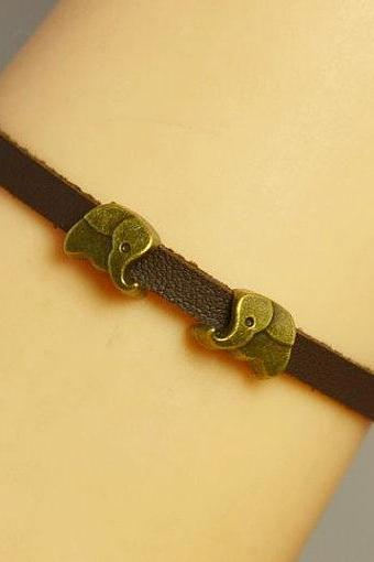 Elephants Bracelet Charm Bracelet Leather bracelet Antique Bronze