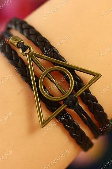 Bracelet antique bronze Harry potter charm wrap bracelet Deathly hollow bracelet suede leather Bracelet