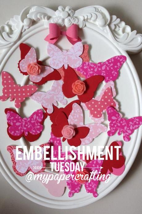 Butterflies die cut in Red & Pink Mixed Pattern Series