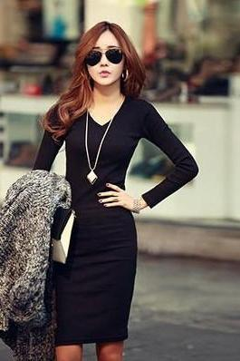 Black V Neck Fitted Long Sleeve Dress
