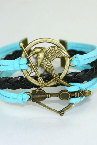 Mockingjay bracelet Arrow and Bow charm wrap bracelet