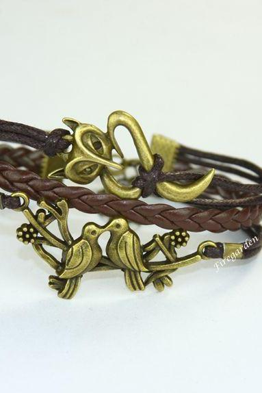 Fox, Birds leather charm wrap bracelet