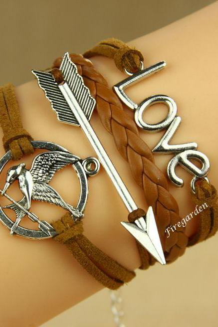 Mockingjay bracelet Arrow and Love Charm wrap bracelet