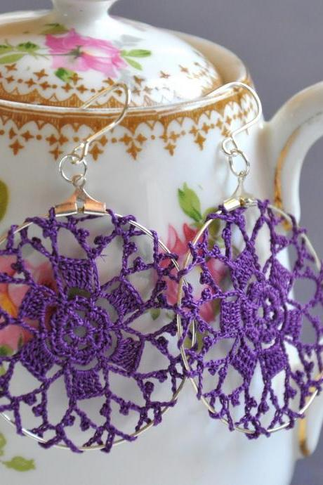 Delicate Lacy Earrings - Byzantium