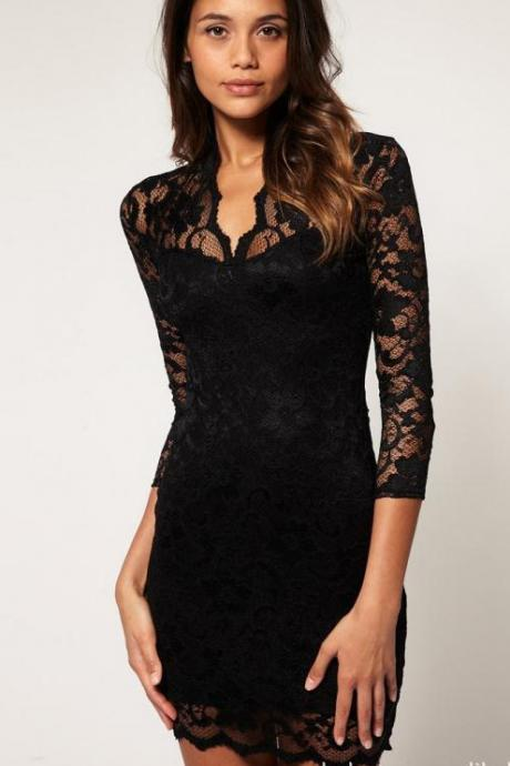 Elegant Black and Blue Lace Mini Dress