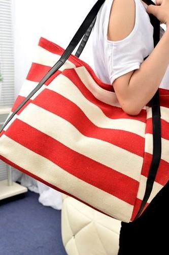 Chic Red and White Stripes Nautical Inspired Bag