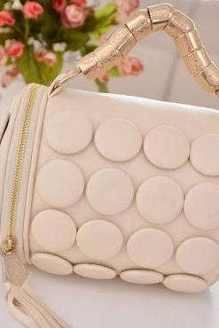 Tassel Embellished White Leather Bag