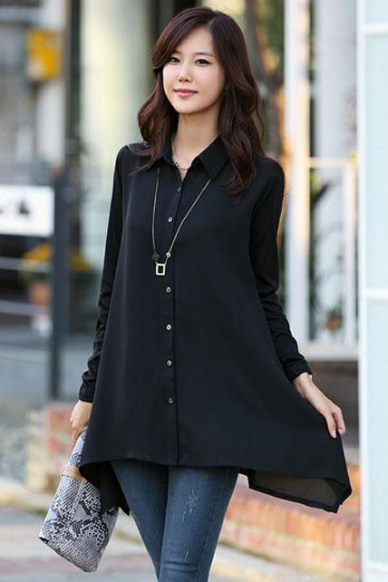 Casual Long Sleeve Button Closure Black Woman Blouse
