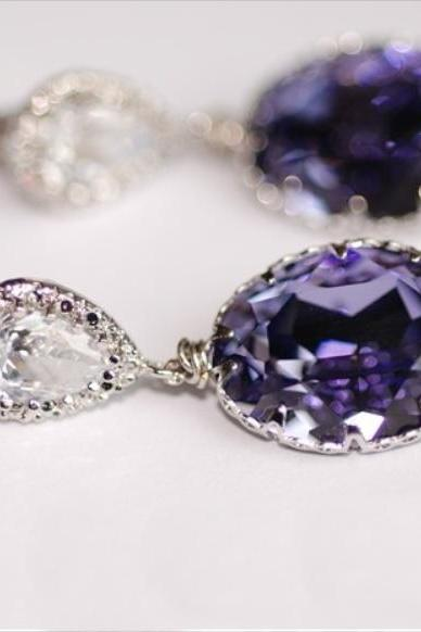 Cubic Zirconia Teardrop and Swarovski Oval Tanzanite (Purple) Crystal Earrings (E215)