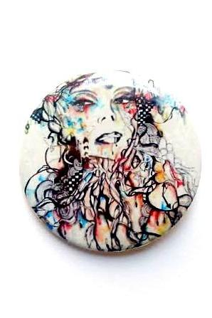 Art pin back button. Abstract portrait illustration art pin back button