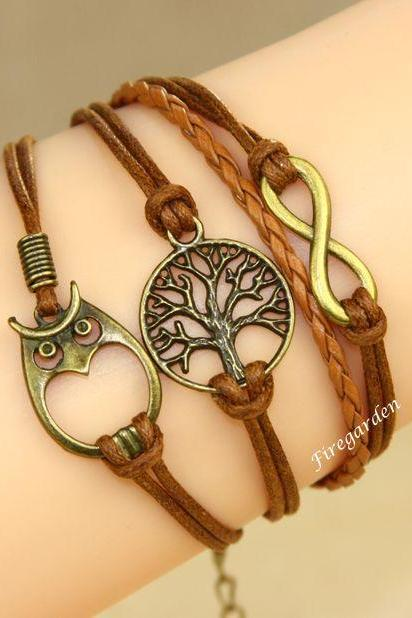 Tree, Owl and Infinity charm wrap bracelet